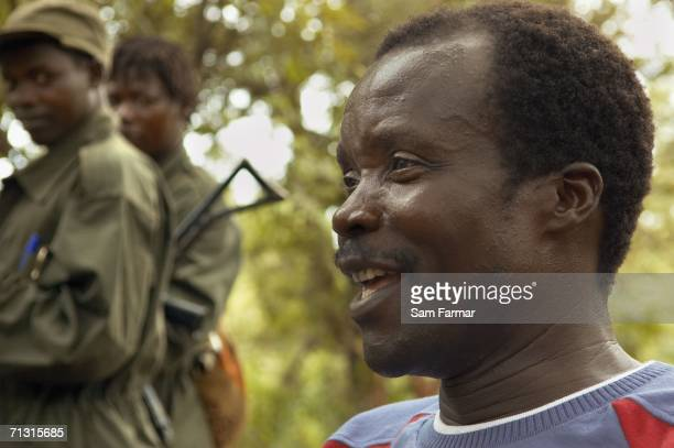 Joseph Kony the leader of the Ugandan rebel group the Lord's Resistance Army talks during a rare meeting with journalists in this photo taken on June...