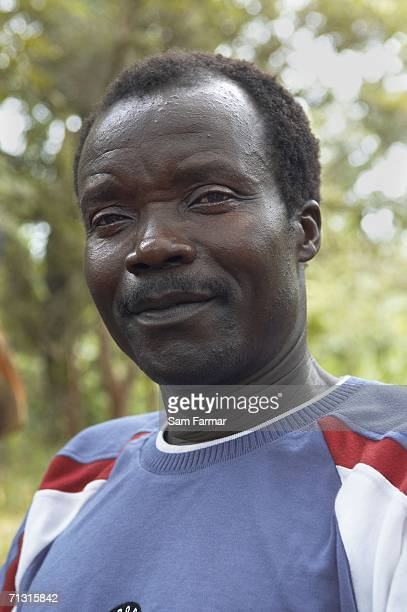Joseph Kony the leader of the Ugandan rebel group the Lord's Resistance Army looks on during a rare meeting with journalists in this photo taken on...