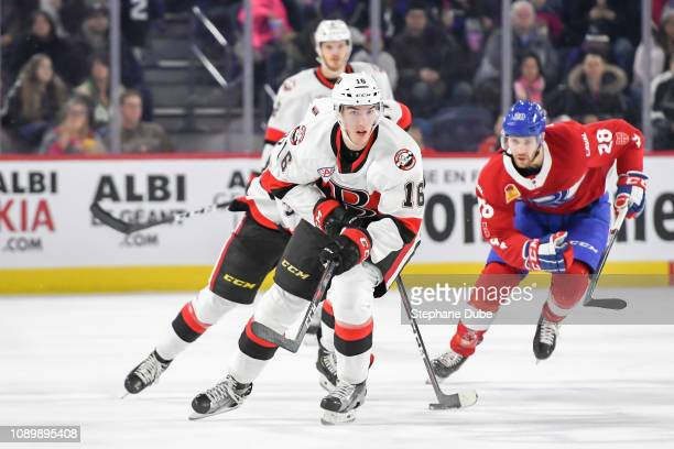 Joseph LaBate of the Belleville Senators skating up the ice with Alexandre Grenier of the Laval Rocket close behind at Place Bell on January 2 2019...