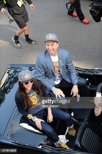 Joseph Lacob owner of the Golden State Warriors celebrates winning the 2015 NBA Championship during a parade on June 19 2015 in Oakland CA NOTE TO...