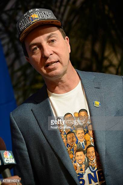 Joseph Lacob owner of the Golden State Warriors speaks to the media celebrating the the 2015 NBA Championship during a parade on June 19 2015 in...