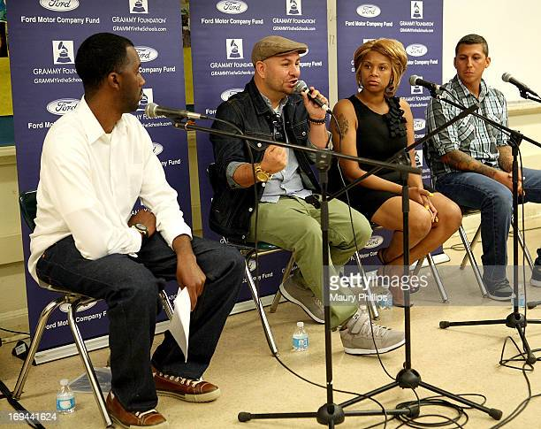 Joseph Langford of The Grammy Foundation, Anthony Valadez, Dolly Adams, Mike Elizondo attend GRAMMY Camp - Basic Training at Dorsey High School on...