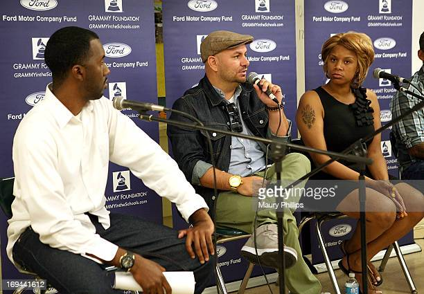 Joseph Langford of The Grammy Foundation, Mike Elizondo and Dolly Adams attend GRAMMY Camp - Basic Training at Dorsey High School on May 24, 2013 in...