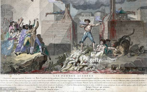 Joseph Le Bon as a shirtless crazed madman standing on a pile of decapitated bodies between two guillotine Dated 1794