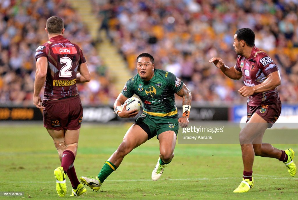 Joseph Leila of the Raiders looks to take on the defence during the round four NRL match between the Brisbane Broncos and the Canberra Raiders at Suncorp Stadium on March 24, 2017 in Brisbane, Australia.