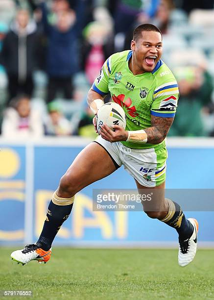 Joseph Leilua of the Raiders celebrates scoring a try during the round 20 NRL match between the Canberra Raiders and the New Zealand Warriors at GIO...