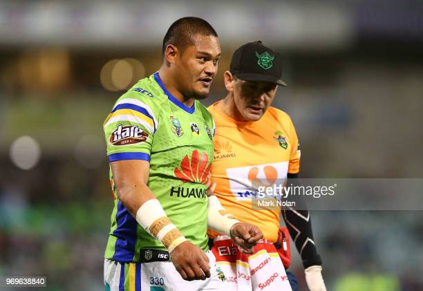 Joseph Leilua of the Raiders is taken from the field with an injury during the round 14 NRL match between the Canberra Raiders and the Penrith...