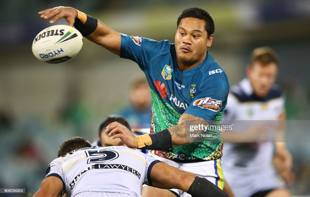 Joseph Leilua of the Raiders offloads during the round 17 NRL match between the Canberra Raiders and the North Queensland Cowboys at GIO Stadium on July 1, 2017 in Canberra, Australia.