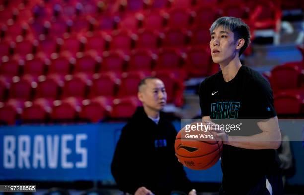 Joseph Lin of Taipei Fubon Braves practice prior to the ASEAN Basketball league match between Taipei Fubon Braves and Formosa Dreamers at Taipei...