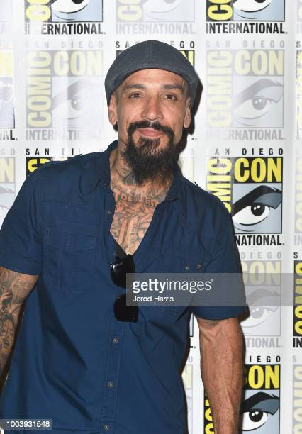 Joseph Lucero attends FX's Mayans MC press line during ComicCon International 2018 at Hilton Bayfront on July 22 2018 in San Diego California