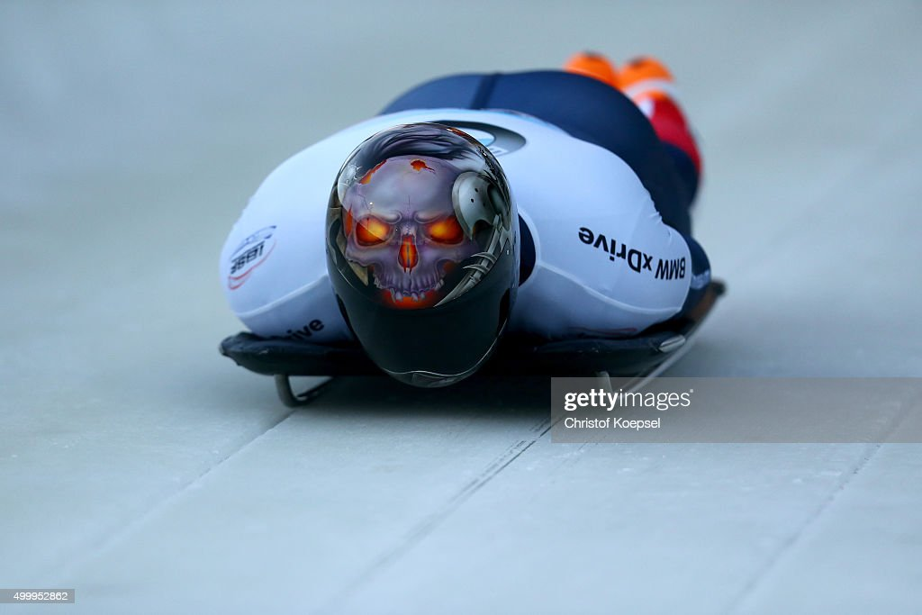 Joseph Luke Cecchini of Italy competes in his first run of the men's skeleton competition during the BMW IBSF Bob & Skeleton Worldcup at Veltins Eis-Arena on December 4, 2015 in Winterberg, Germany.