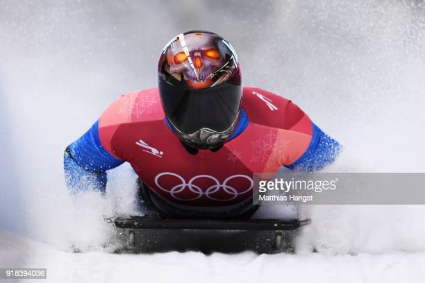 Joseph Luke Cecchini of Italy slides into the finish area during the Men's Skeleton heats on day six of the PyeongChang 2018 Winter Olympic Games at...