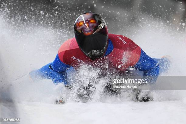 Joseph Luke Cecchini of Italy slides into the finish area during the Men's Skeleton heats at Olympic Sliding Centre on February 16, 2018 in...