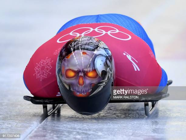 TOPSHOT Joseph Luke Cecchini of Italy starts his men's skeleton training session at the Olympic Sliding Centre during the Pyeongchang 2018 Winter...