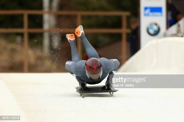Joseph Luke Cecchini of Italy takes a training run in the Men's Skeleton during the BMW IBSF Bobsleigh + Skeleton World Cup at Utah Olympic Park...