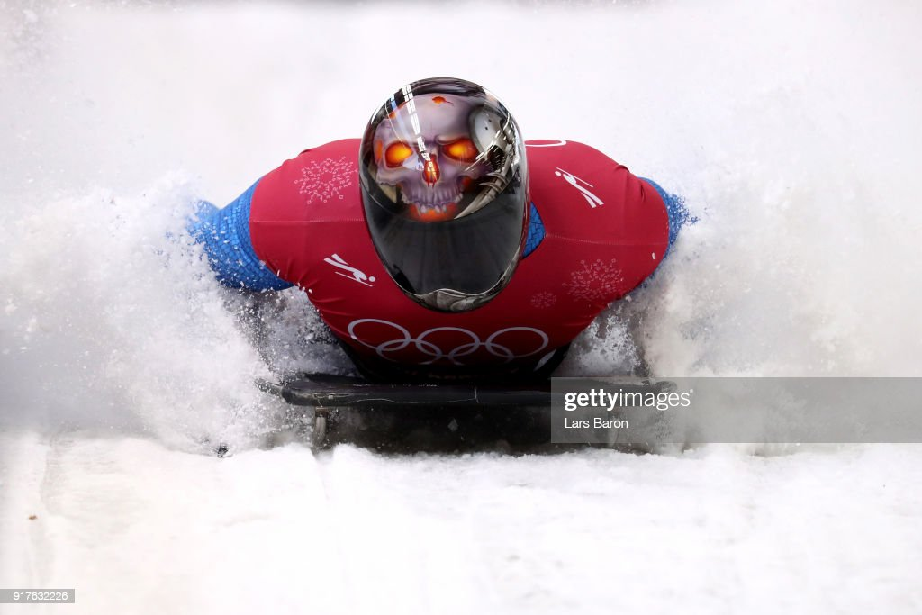 Joseph Luke Cecchini of Italy trains during the Mens Skeleton training session on day four of the PyeongChang 2018 Winter Olympic Games at Olympic Sliding Centre on February 13, 2018 in Pyeongchang-gun, South Korea.