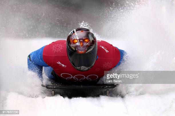 Joseph Luke Cecchini of Italy trains during the Mens Skeleton training session on day four of the PyeongChang 2018 Winter Olympic Games at Olympic...