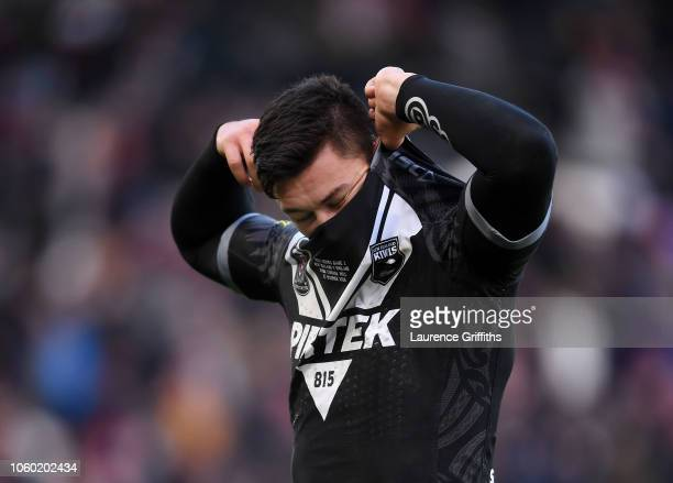Joseph Manu of New Zealand shows his disappointment after defeat in the International Series match between England and New Zealand at KCOM Stadium on...