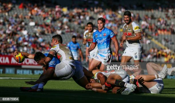 Joseph Manu of the Roosters looks to score a try during the 2017 Auckland Nines final between The Sydney Roosters and Penrith Panthers at Eden Park...