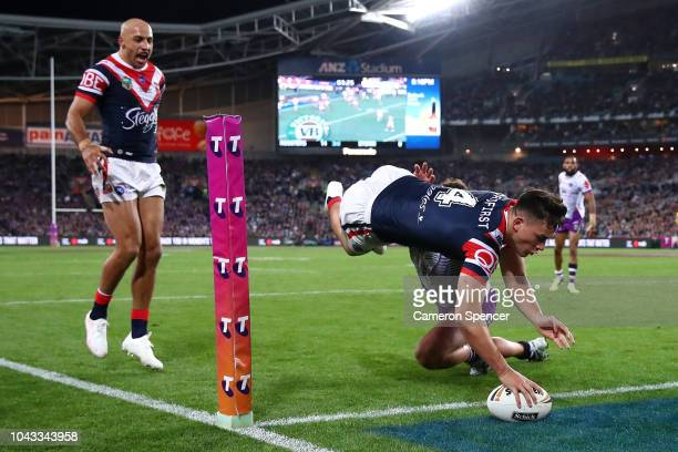Joseph Manu of the Roosters scores a try during the 2018 NRL Grand Final match between the Melbourne Storm and the Sydney Roosters at ANZ Stadium on...