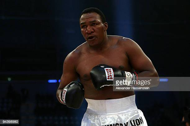 Joseph Marwa of Tanzania in action during his Cruiserweight fight against Nuri Seferi of Switzerland at PostfinanceArena on December 12 2009 in Bern...