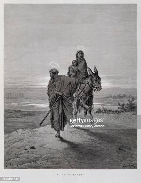 Joseph Mary and Jesus on the flight to Egypt Illustration from the Dore Bible 1866 In 1866 the French artist and illustrator Gustave Doré published a...