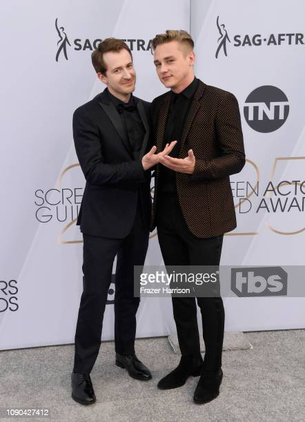 Joseph Mazzello and Ben Hardy attend the 25th Annual Screen Actors Guild Awards at The Shrine Auditorium on January 27 2019 in Los Angeles California