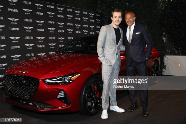 Joseph Mazzello and Genesis Executive Vice President Global Brand Head Manfred Fitzgerald are seen as Vanity Fair and Genesis celebrate the cast of...