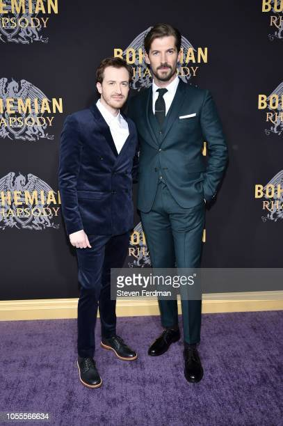Joseph Mazzello and Gwilym Lee attend Bohemian Rhapsody New York Premiere at The Paris Theatre on October 30 2018 in New York City