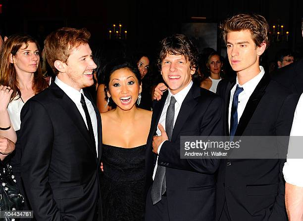 Joseph Mazzello Brenda Song Jesse Eisenberg and Andrew Garfield attend the after party for the premiere of The Social Network during the 48th New...