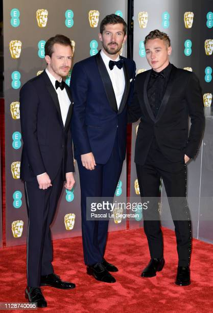 Joseph Mazzello Gwilym Lee and Ben Hardy attend the EE British Academy Film Awards at Royal Albert Hall on February 10 2019 in London England