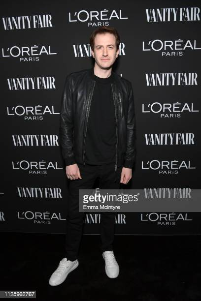 Joseph Mazzello is seen as Vanity Fair and L'Oréal Paris Celebrate New Hollywood on February 19 2019 in Los Angeles California