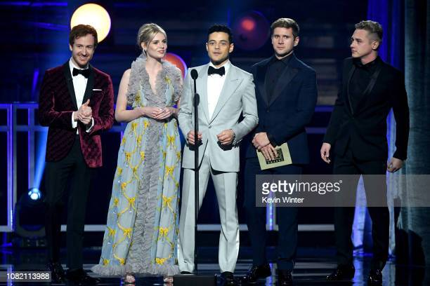 Joseph Mazzello Lucy Boynton Rami Malek Allen Leech and Ben Hardy speak onstage during the 24th annual Critics' Choice Awards at Barker Hangar on...