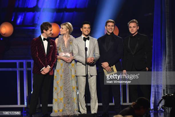 Joseph Mazzello Lucy Boynton Rami Malek Allen Leech and Ben Hardy present the award for Best Supporting Actress onstage during the 24th annual...