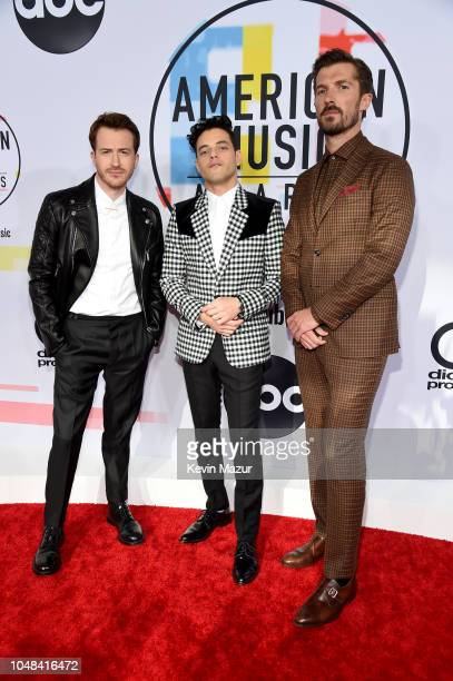 Joseph Mazzello Rami Malek and Gwilym Lee attend the 2018 American Music Awards at Microsoft Theater on October 9 2018 in Los Angeles California