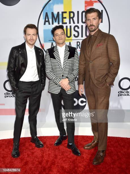 Joseph Mazzello Rami Malek and Gwilym Lee attends the 2018 American Music Awards at Microsoft Theater on October 9 2018 in Los Angeles California