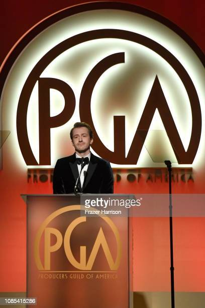 Joseph Mazzello speaks onstage during the 30th annual Producers Guild Awards at The Beverly Hilton Hotel on January 19 2019 in Beverly Hills...