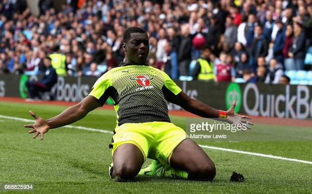Joseph Mendes of Reading celebrates scoring his teams second goal during the Sky Bet Championship match between Aston Villa and Reading at Villa Park...