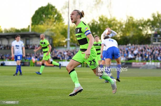 Joseph Mills of Forest Green Rovers celebrates scoring his side's first goal during the Sky Bet League Two Playoff Semi Final Second Leg match...