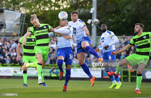 Joseph Mills of Forest Green Rovers scores his side's first goal during the Sky Bet League Two Playoff Semi Final Second Leg match between Forest...
