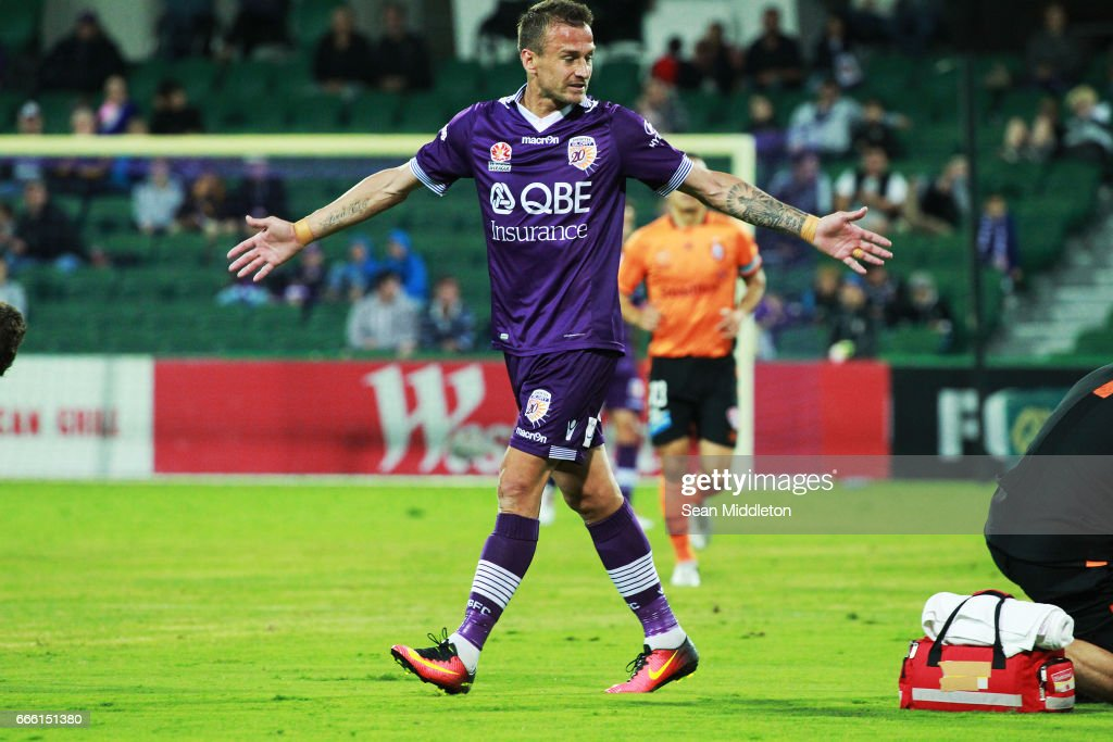 Joseph Mills #16 of the Glory during the round 26 A-League match between the Perth Glory and Brisbane Roar at nib Stadium on April 8, 2017 in Perth, Australia.