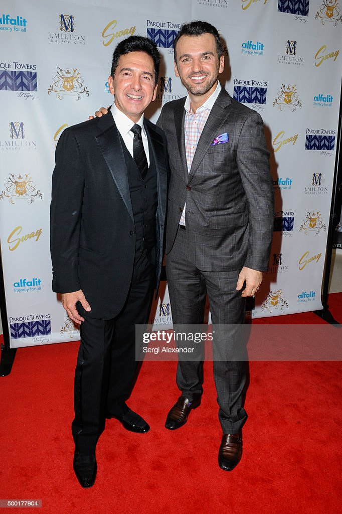 Joseph Milton (R) and Tony Dovolani attend SWAY Alfalit Gala at Gary Nader Art centre on December 5, 2015 in Miami, Florida.