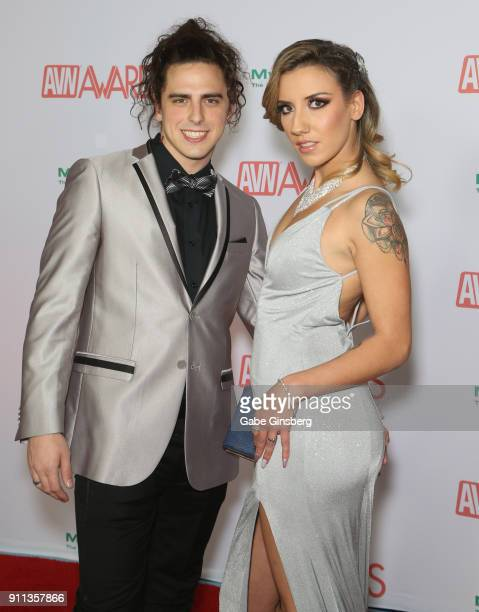 Joseph Mohney and adult film actress Sophia Grace attend the 2018 Adult Video News Awards at the Hard Rock Hotel Casino on January 27 2018 in Las...