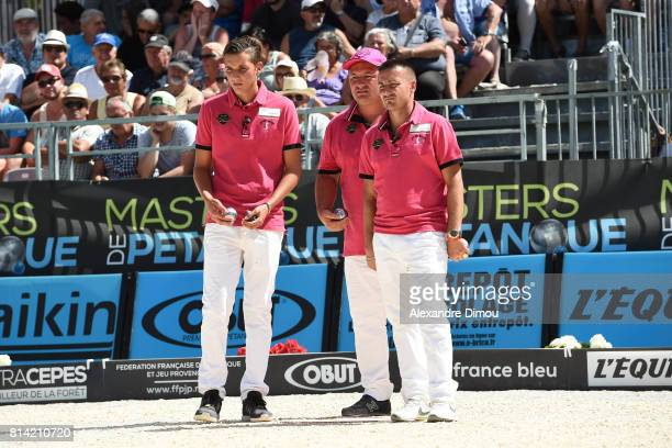 Joseph Molinas and Christophe Sarrio and Kevin Malbec competes during the Masters of Petanque 2017 on July 13 2017 in RomanssurIsere France