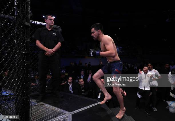Joseph Morales enters the Octagon before facing Deiveson Figueiredo of Brazil in their flyweight bout during the UFC Fight Night event at...