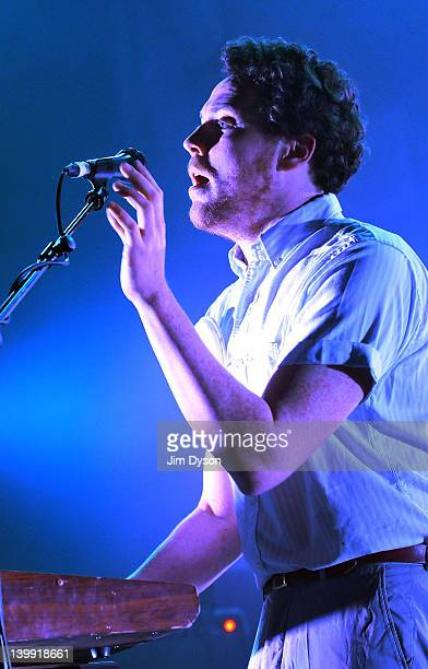 Joseph Mount of British electronic rock group Metronomy performs live on stage at Brixton Academy during the NME Awards Tour on February 25, 2012 in...