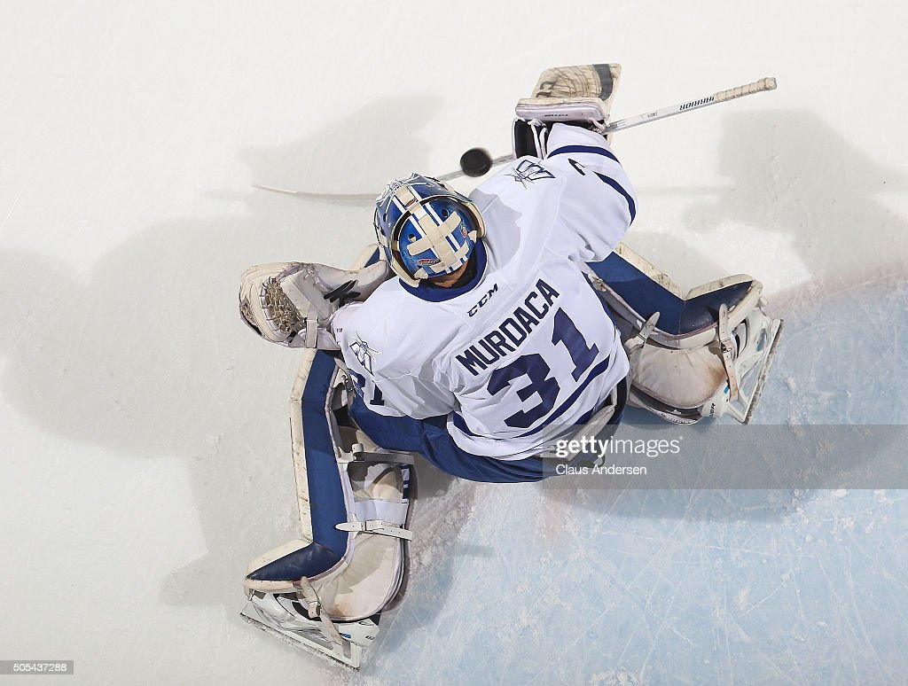 Joseph Murdaca #31 of the Mississauga Steelheads stops a shot in the warm-up prior to play against the London Knights in an OHL game at Budweiser Gardens on January 16,2016 in London, Ontario, Canada. The Knights defeated the Steelheads 5-0.