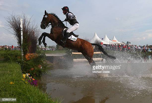 Joseph Murphy of Ireland riding Sportsfield Othello clears the lake fence during the cross-country test on day four of the Badminton Horse Trials on...