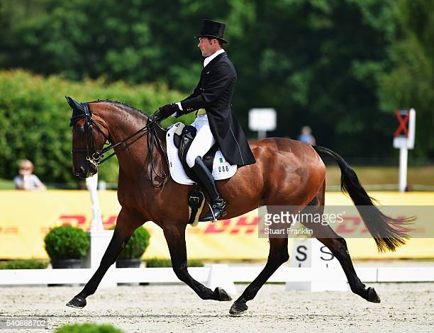 Joseph Murphy of Ireland riding Sportsfield Othello takes part in the dressage section of the German Championships on June 16 2016 in Luhmuhlen...