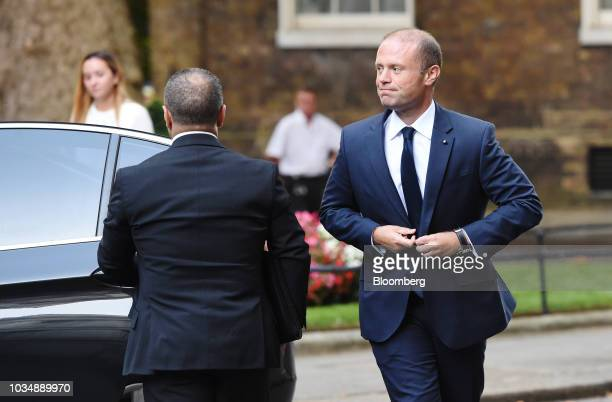 Joseph Muscat Malta's prime minister arrives for a meeting with Theresa May UK prime minister not pictured outside number 10 Downing Street in London...